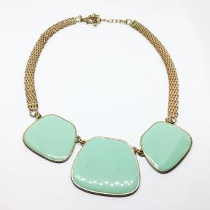 Costume Light green stone necklace, Gold like surf